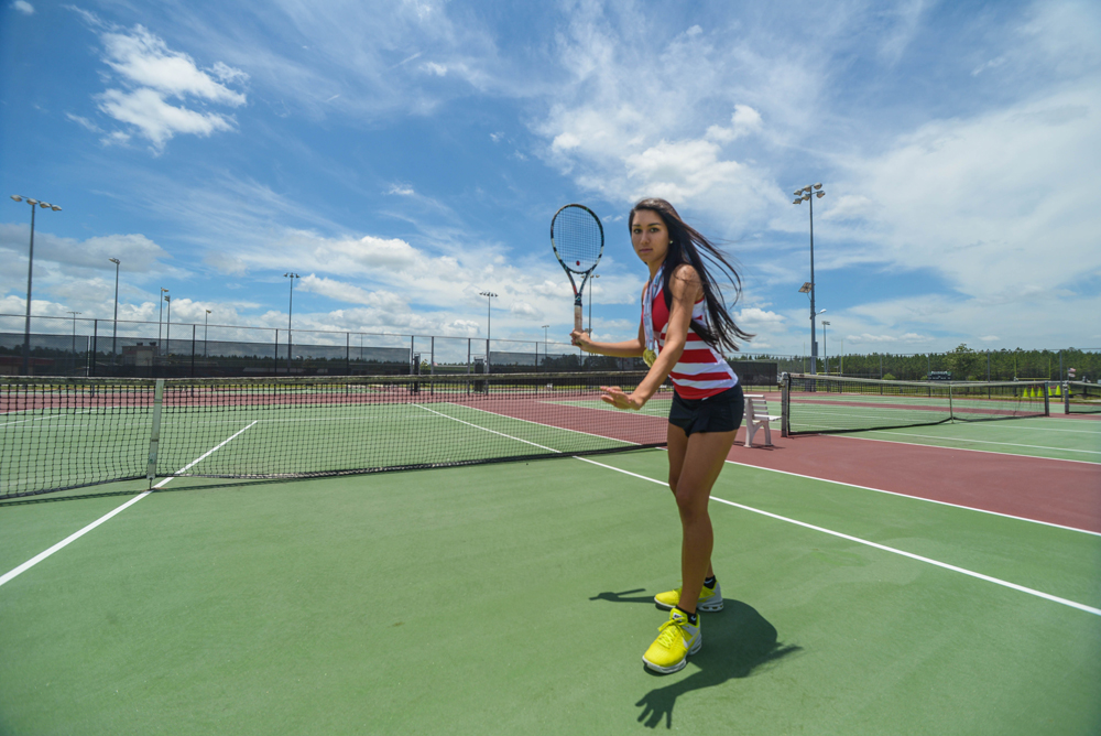 alex.sanchez@staugustine.com  Marissa Ruiz, a senior at Creekside High School, poses for a photoshoot at the Creekside tennis courts on Tuesday June 3, 2014. Ruiz was chosen as one of the nine St Johns County allstar athletes. She has committed to Florida Atlantic University and will be attending in the Fall.