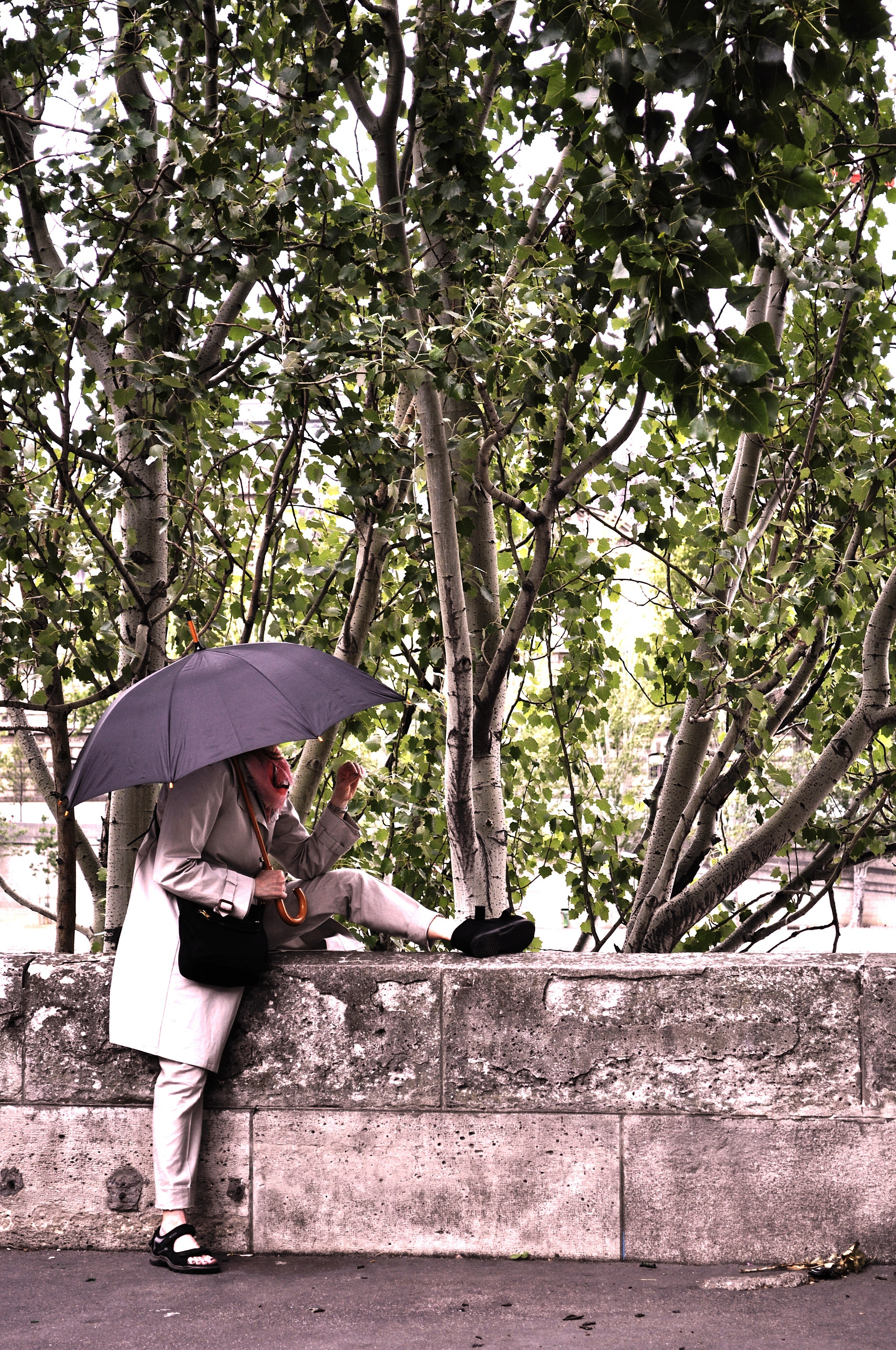 Shielding from the rain, or the world? Paris. France.