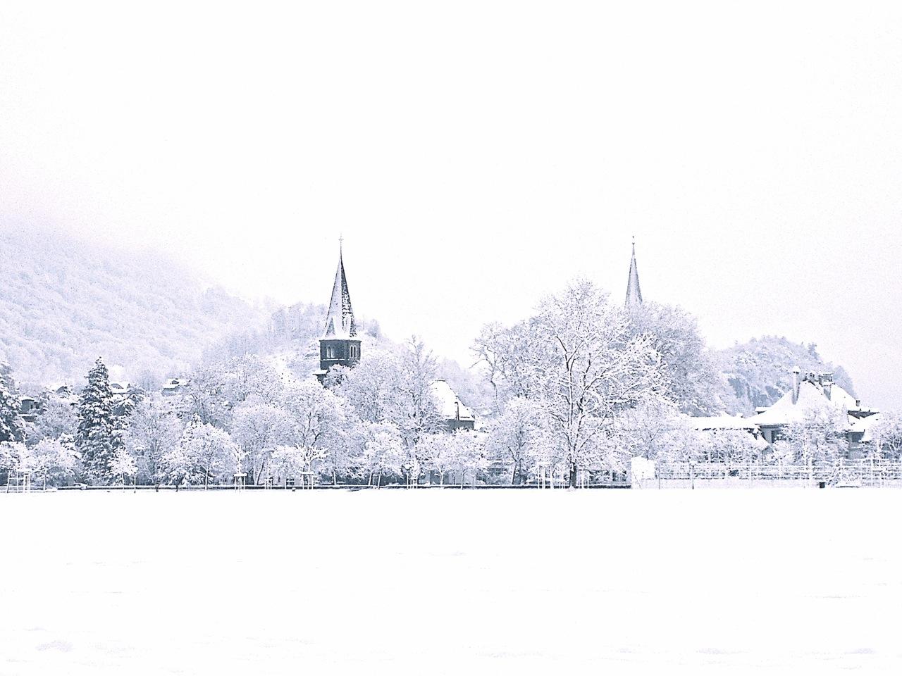 Snow. White. Interlaken. Switzerland.