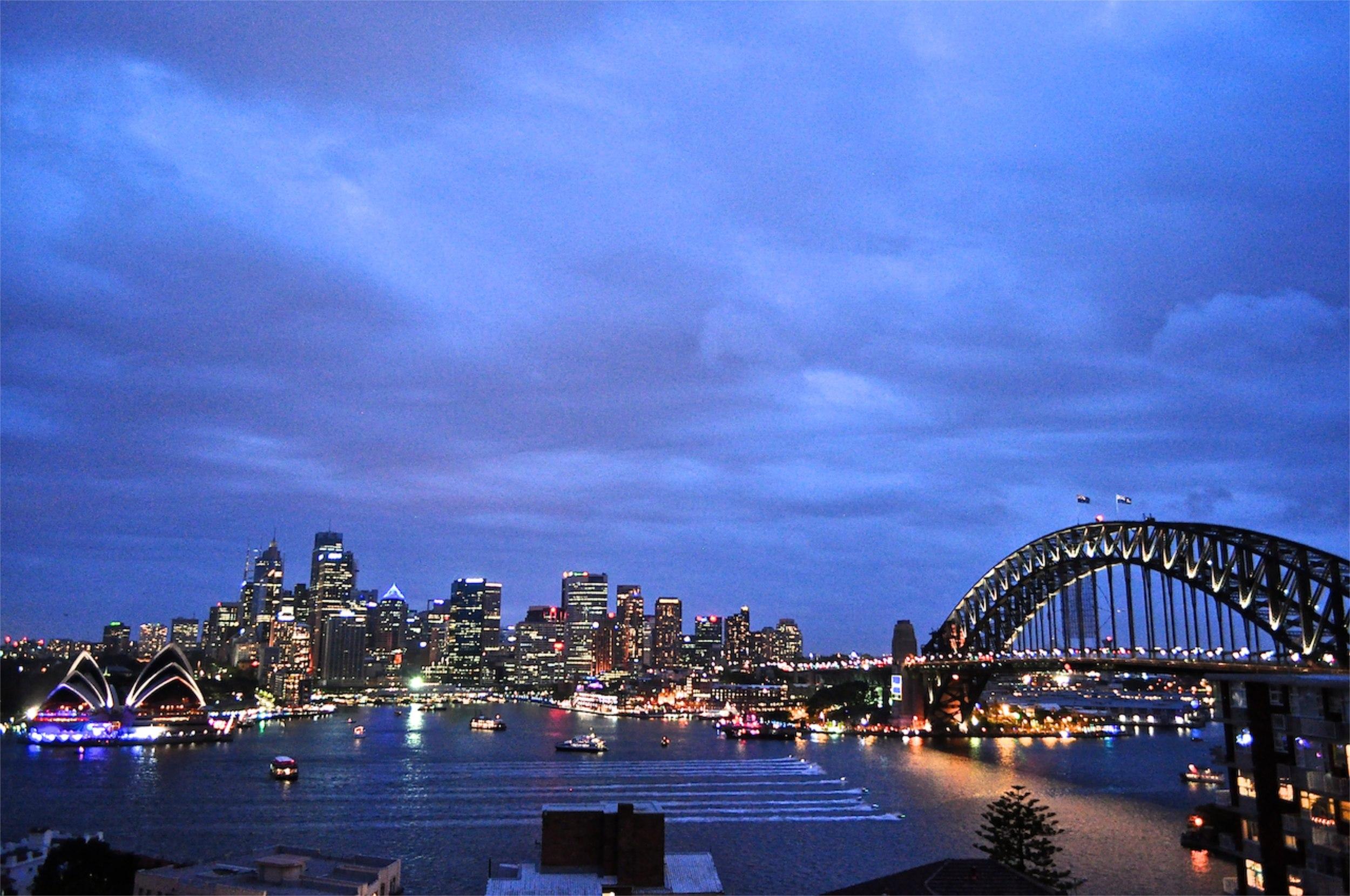 Twilight. New Year's Eve. Sydney. Australia.