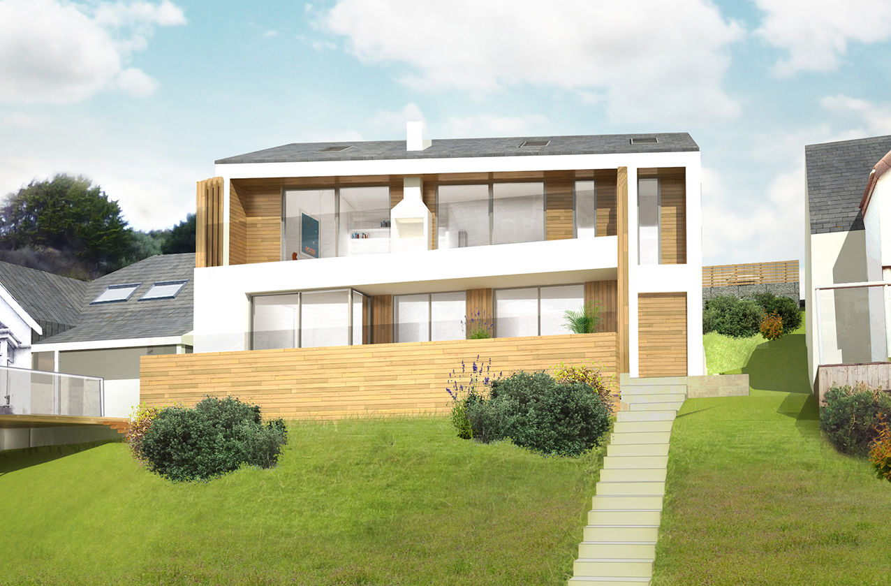 SLATEWATER - Situated in an elevated position on the hillside with views of the heathland opposite, and the Atlantic Ocean at an angle, the clients brief was to design a new contemporary holiday home that maximised the site's potential by way of the seaward views.