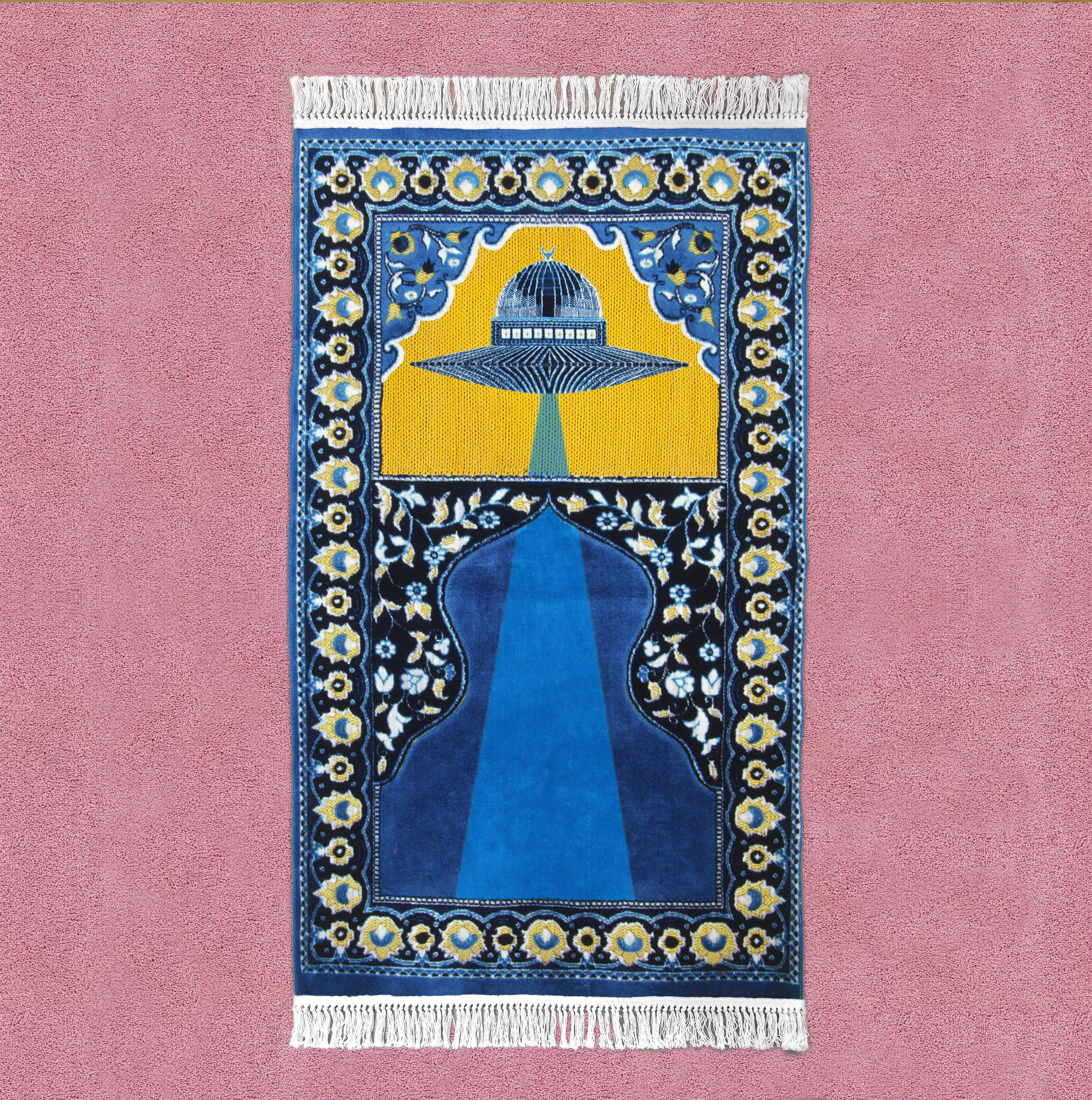 Insider Outsider Prayer Rug  Material: Silk  . Hand Made. 2.5'X 4'. 2016.
