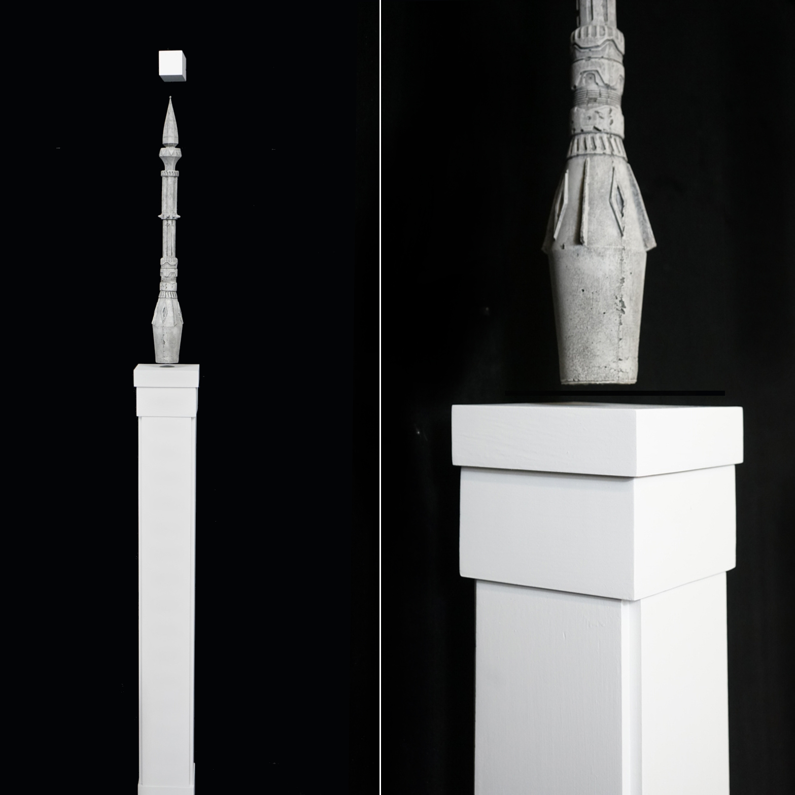 Hovering Minaret  2019. High Density Foam, Electromagnets, Wood. Edition of 3.