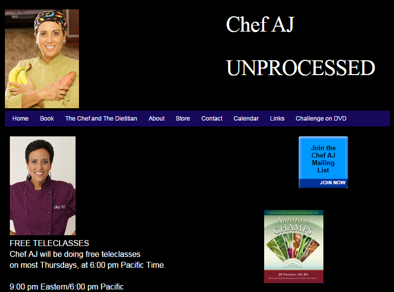 "Chef AJ   Chef AJ is the author of ""Unprocessed."" Visit her website for great recipes."