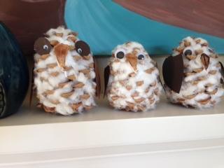 Pine Cone Snow Owls