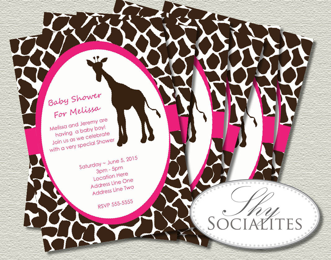 Sweet and Playful Giraffe Invitation