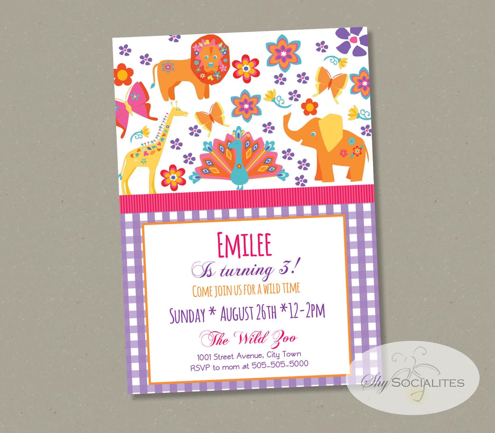 Girly Safari Invitation