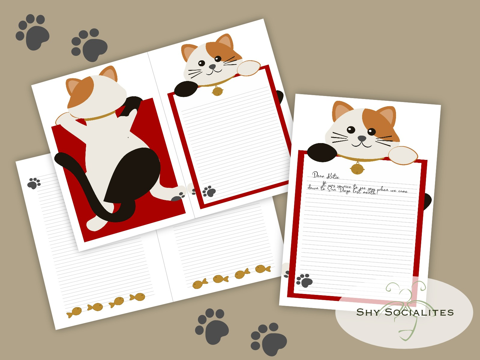 Maneki-Neko Stationery Printable