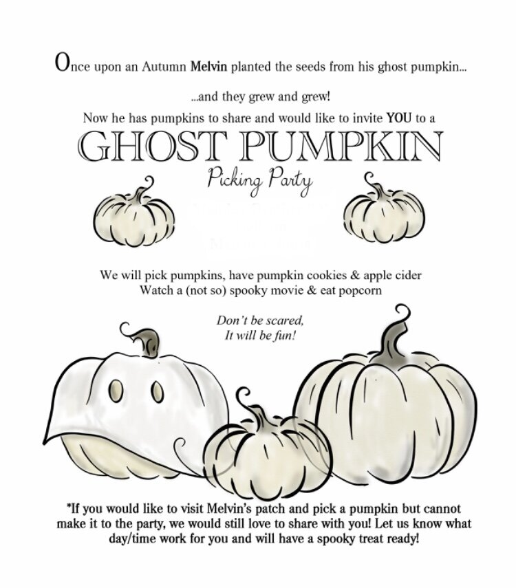 If you see an invitation PDF in our shop, but need it as an evite, we can make that change for you! This is the text (minus personal information) we sent out for Melvin's first annual Pumpkin Picking Party!