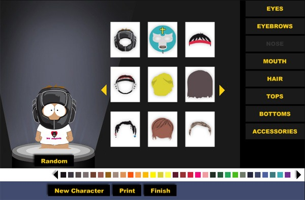South Park - A custom avatar creator made for the popular long-running TV show