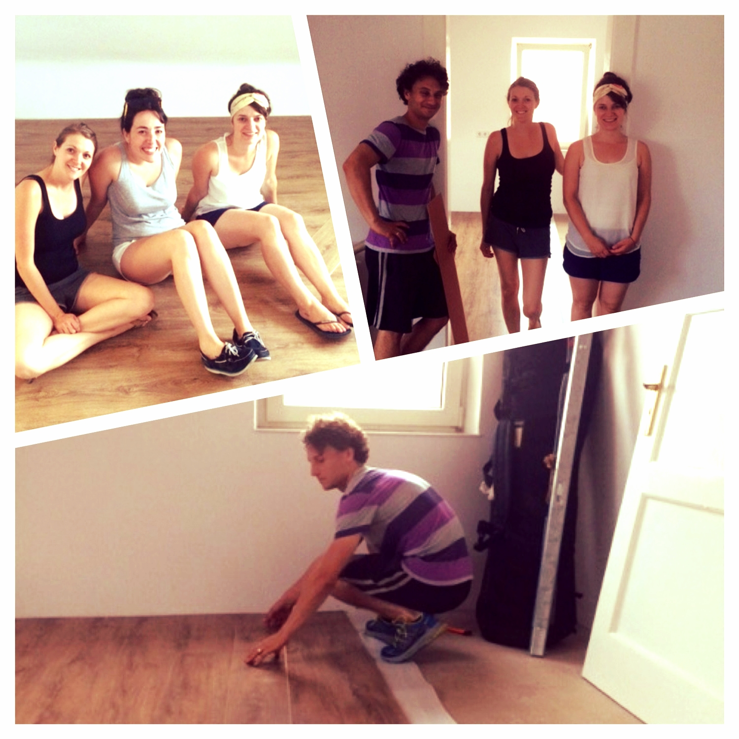Putting in floors at the Tefts and Mona's new apartment!