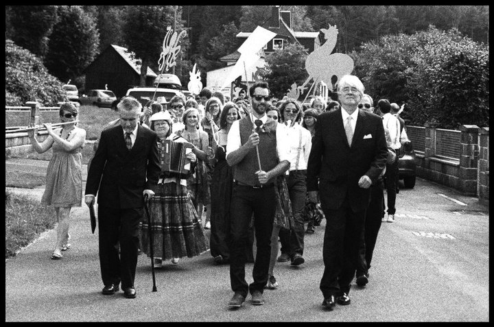 Bernard leading the parade at our wedding with Uli and my father.