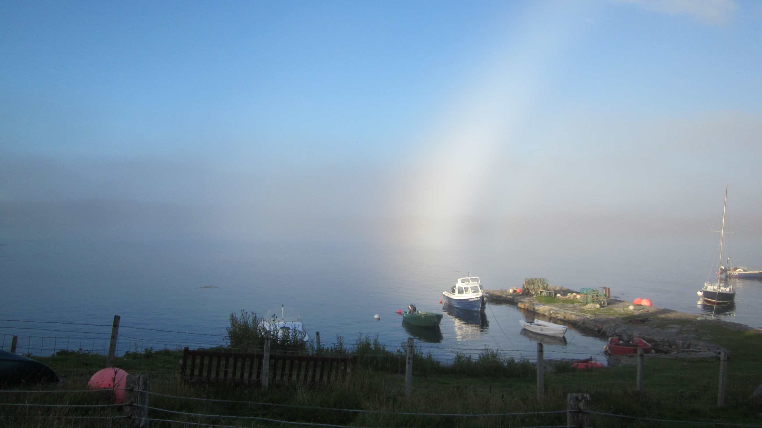A fogbow over the old pier.