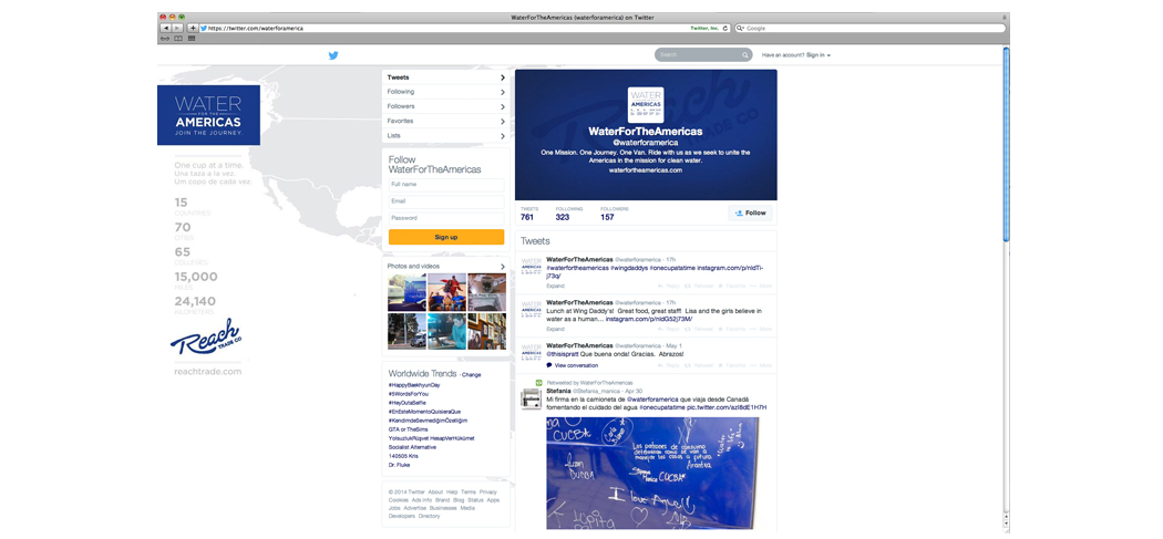 Reach & Water for the Americas Twitter design