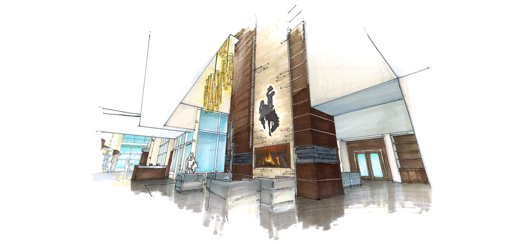 Concept design of the fireplace and donor rec. design