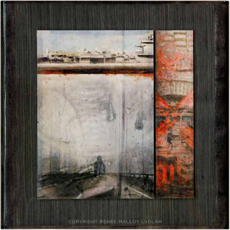 """Road"" 15.25""x 15.25"" Multimedia with oil paint and encaustic on reclaimed wood."