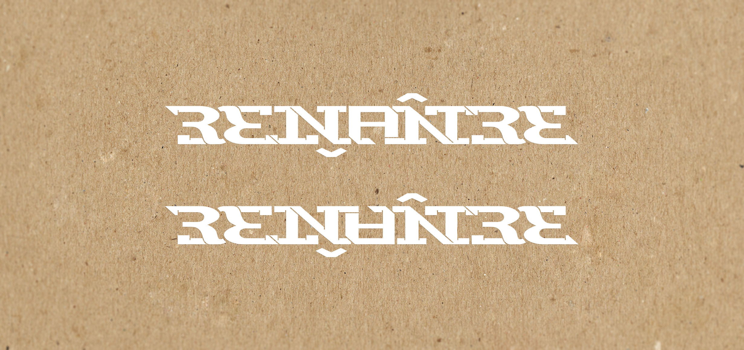 Ambigram logo design with handmade slab serif type.