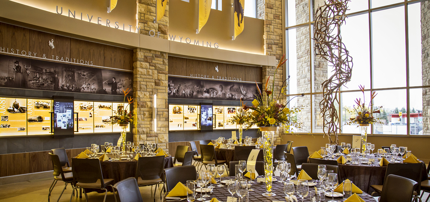 Installation image of the UW Legacy Hall during a special event