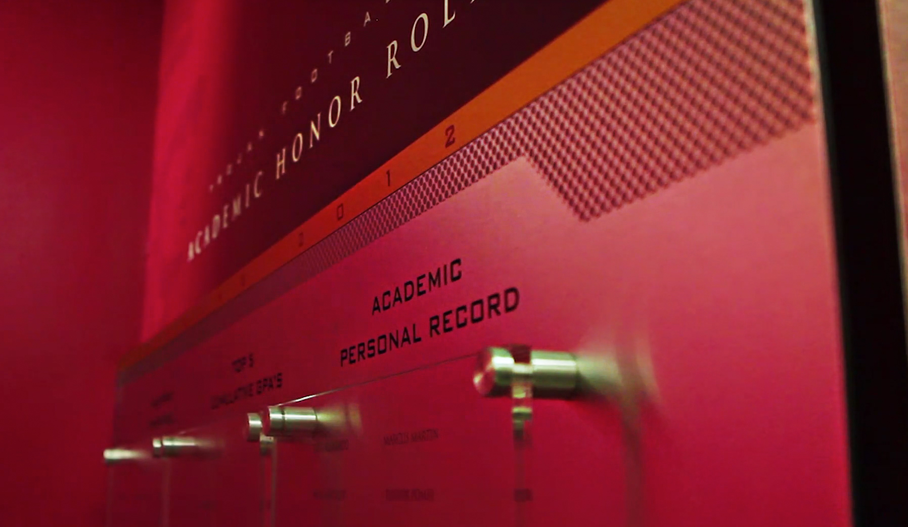 John McKay Center installation image: Academic Honor Roll display detail