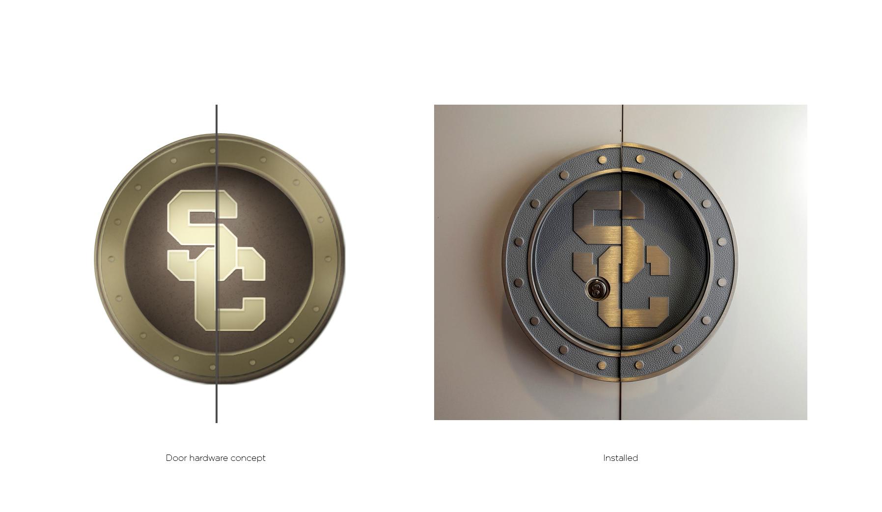 John McKay Center installation image: Concept and installation of door handle designs