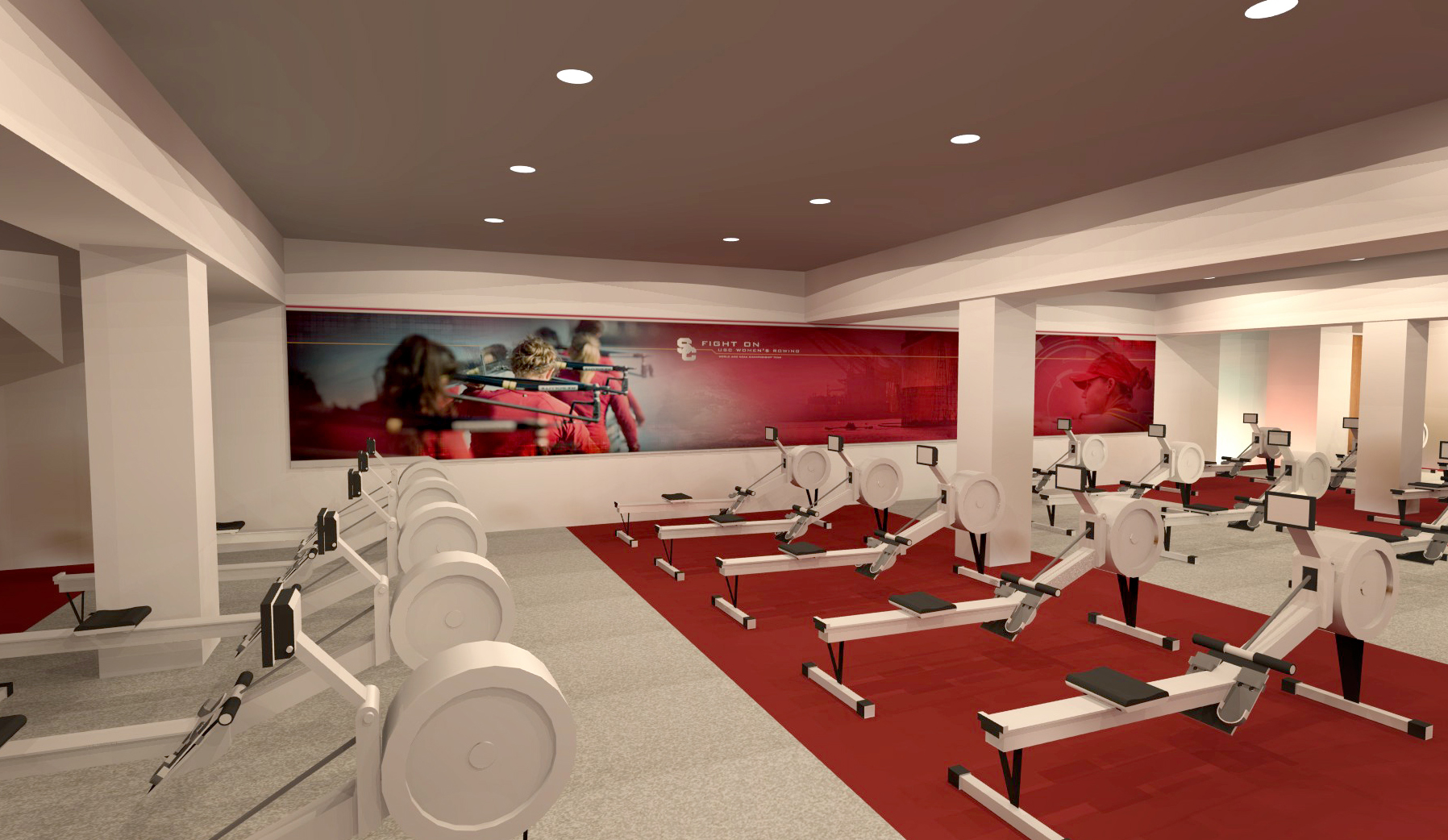 Heritage Hall concept rendering: Rowing training room mural