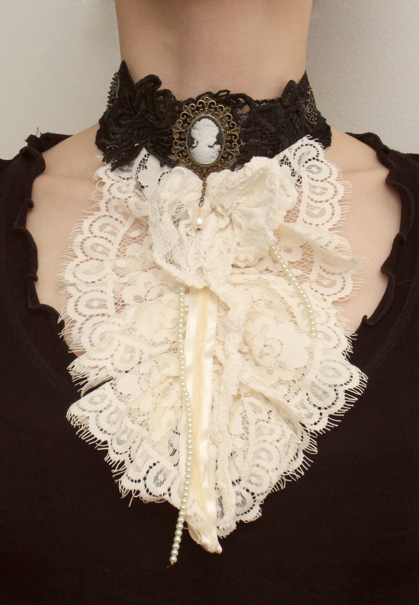 Cream Jabot with choker