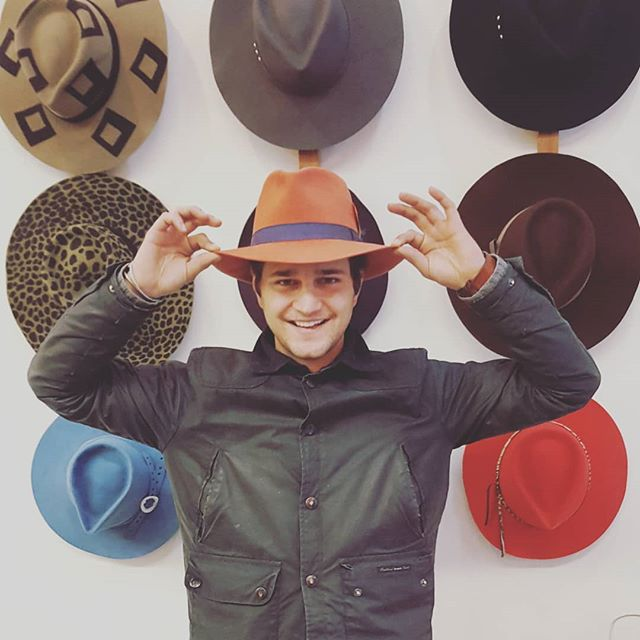 Did y'all know that @wornandcompany sells our hats in #Lexington? Nick just came by for a fresh batch of #fedoras for his store, and left with one for himself! That's the last of that beautiful salmon color, happy to see it go to a friend!