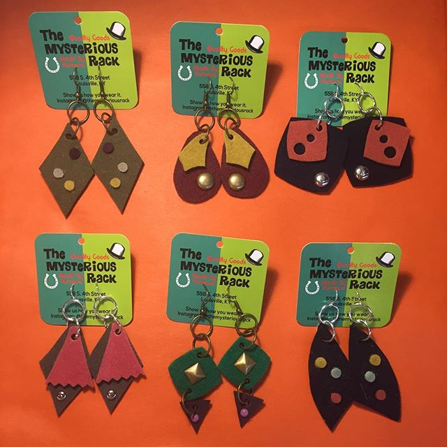 We're loving our new felt earrings and think you will too! Get these and more in the shop today. #upcycled #accessories #felt