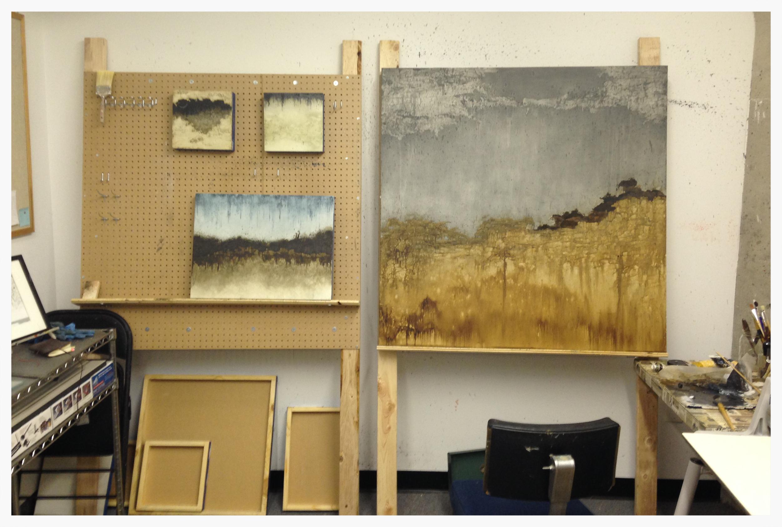 A few pieces in progress at the studio.