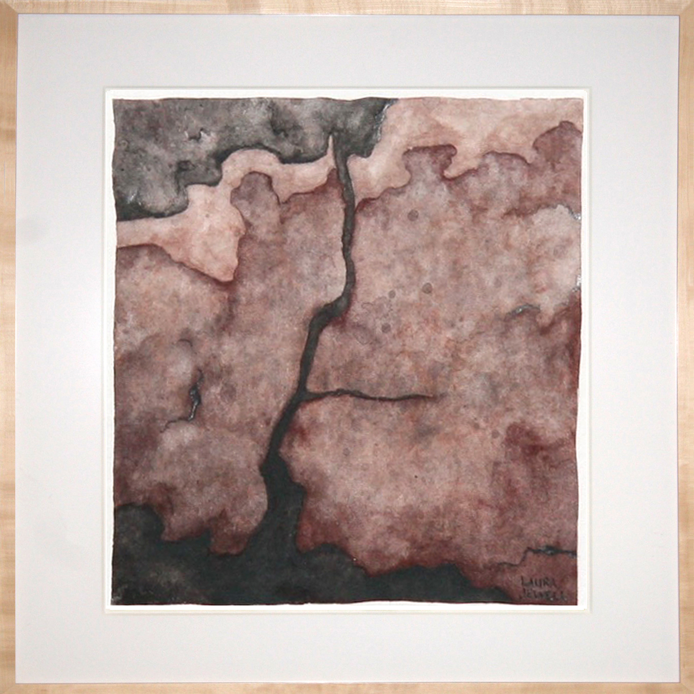 "Fissure. Framed Watercolor. Sold   Artwork Dimensions: 4.5""x4.5"" Frame Dimensions: 9""x9"""