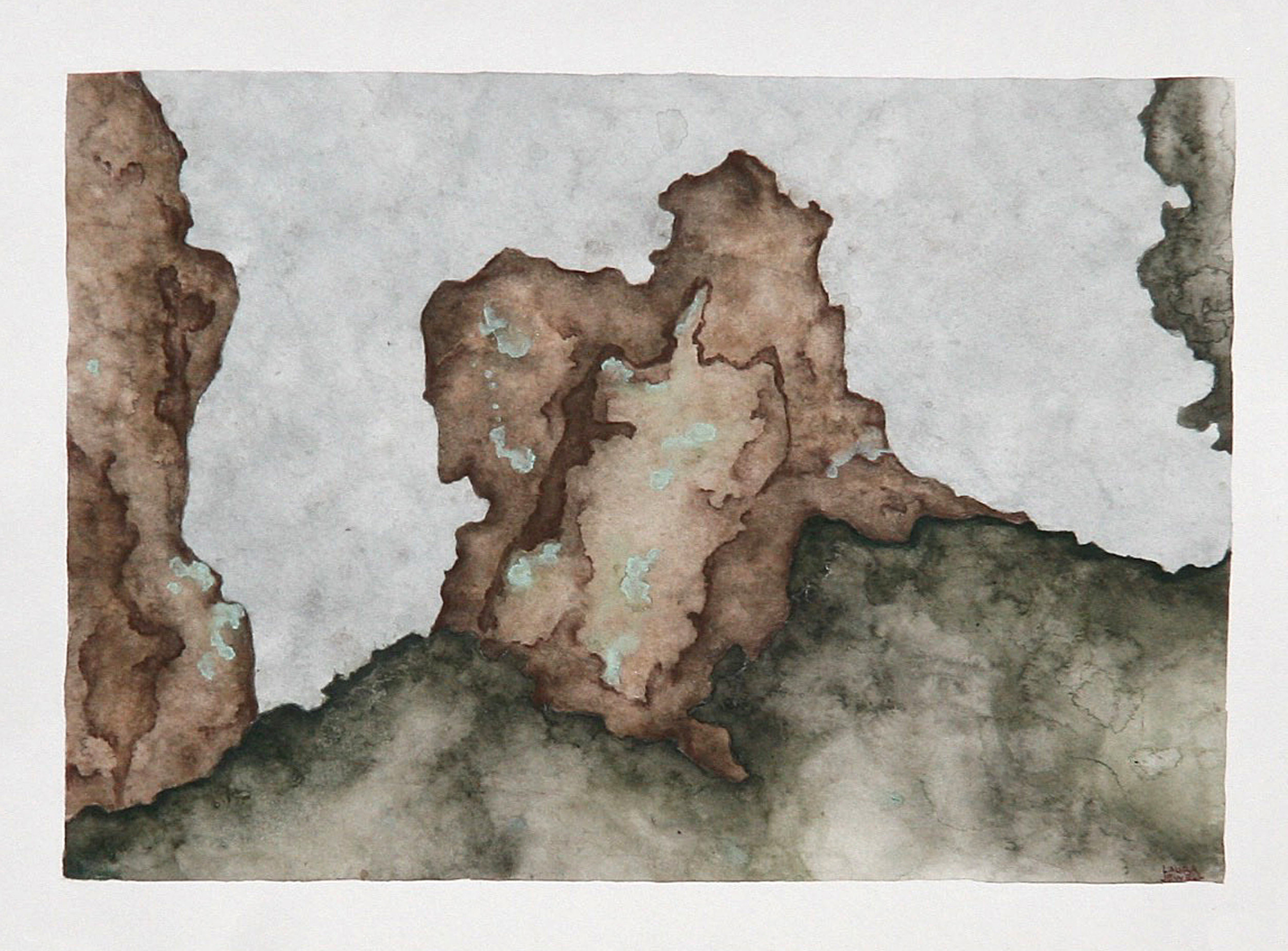 "Outcrop. Watercolor. SOLD   13""x9"""