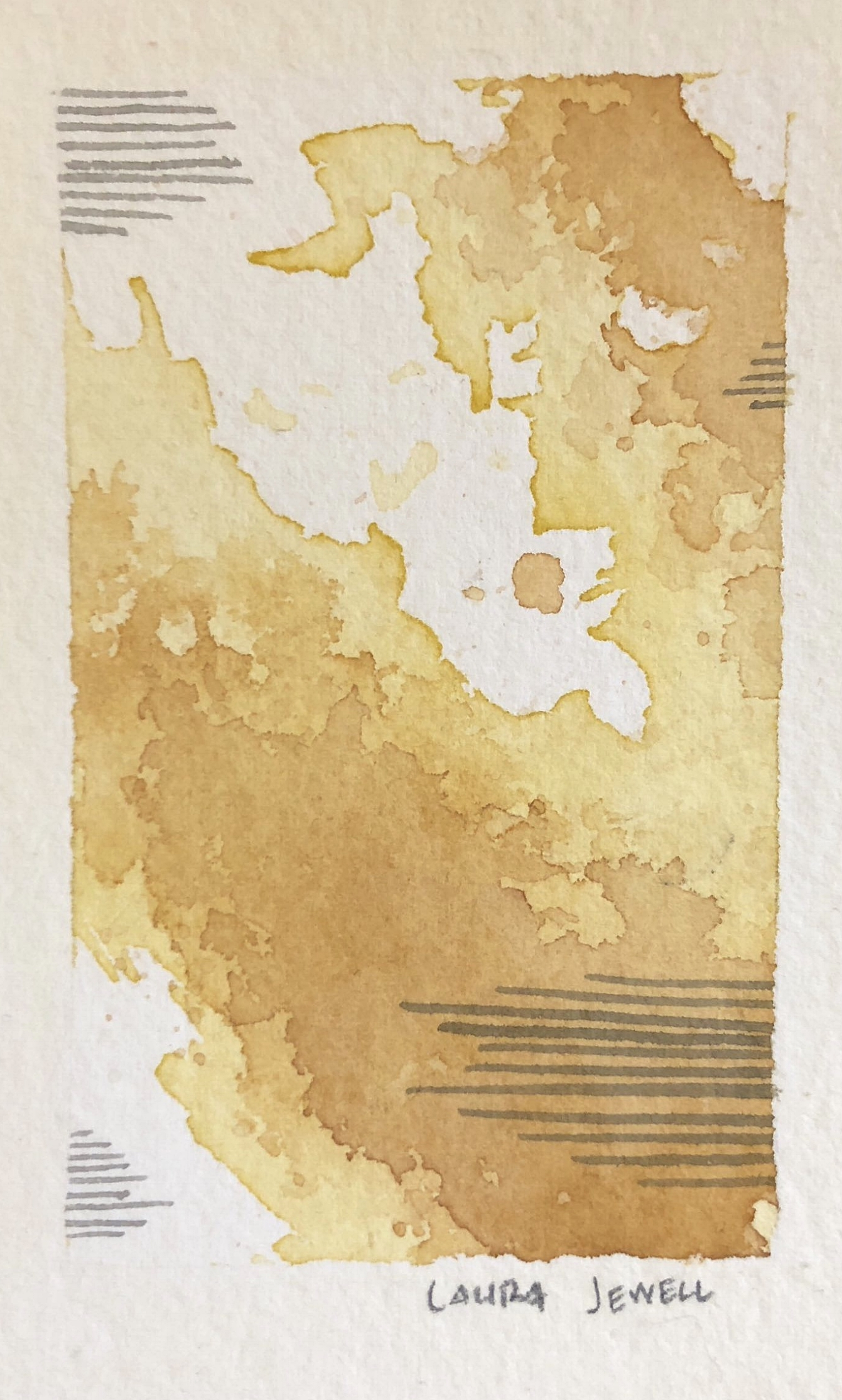 "Flecks of Gold. Watercolor. SOLD   2""x4"""
