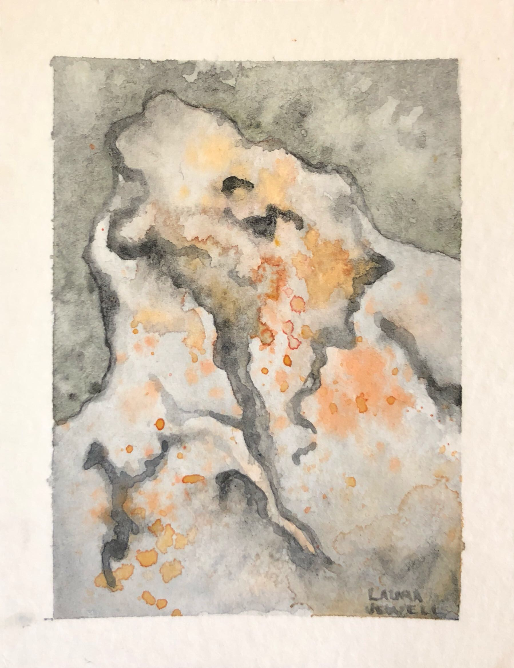 "Orange Lichens. Watercolor. SOLD   2.5""x3.5"""