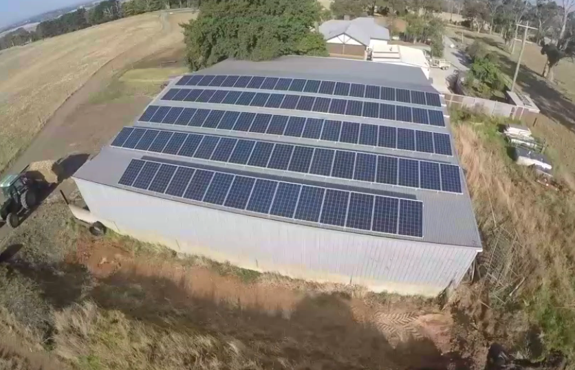 The 22.5kw of west facing panels on the hayshed