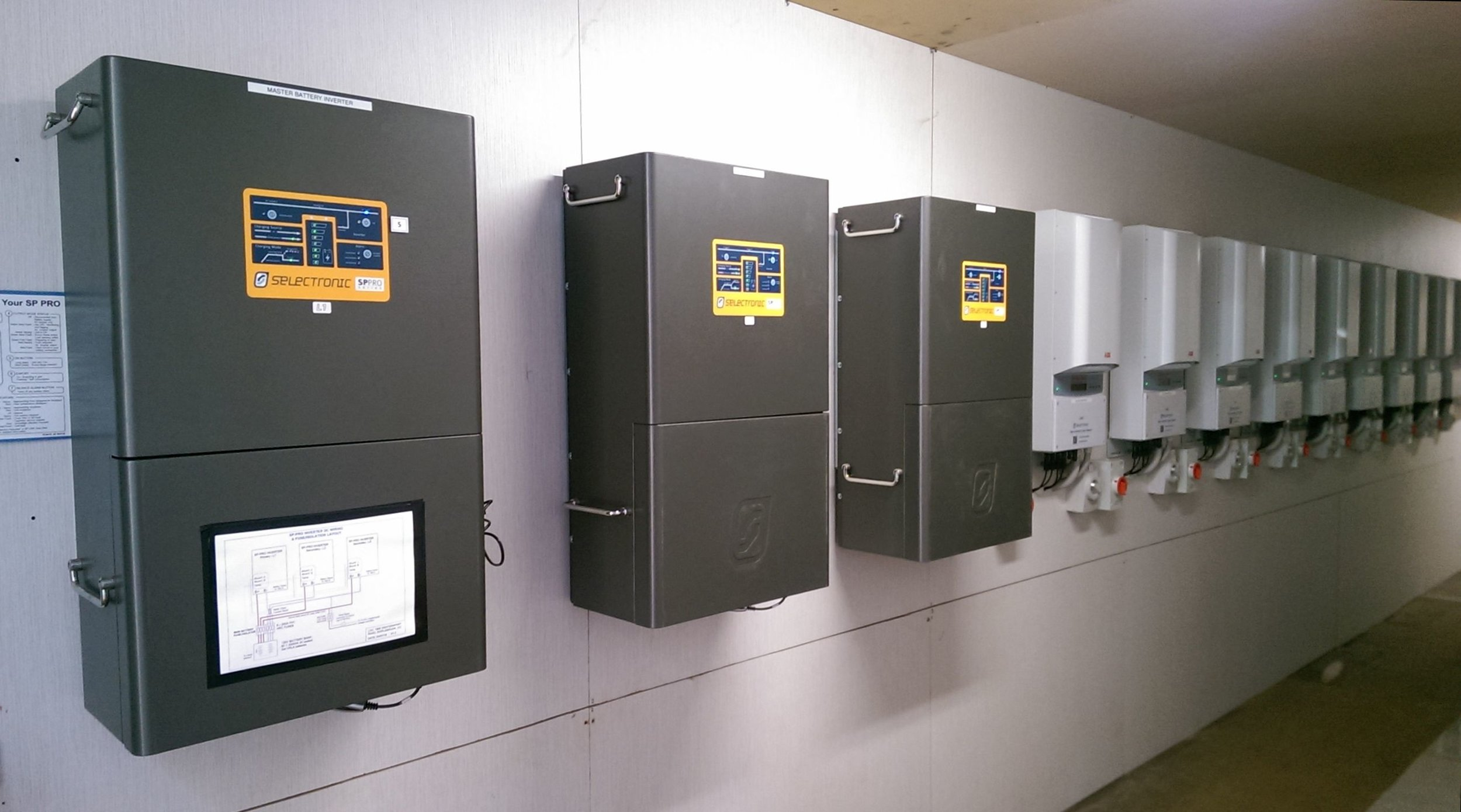 The 3 Australian made Selectronic SP PRO multi-mode inverters coupled with 9 ABB solar inverters