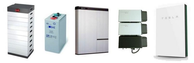 Some of the many home solar battery options available - Lead-acid and lithium battery systems