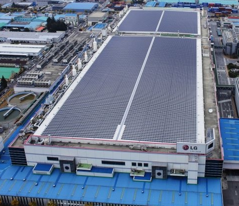 The LG solar module manufacturing facility in South Korea. Image credit LG Newsroom