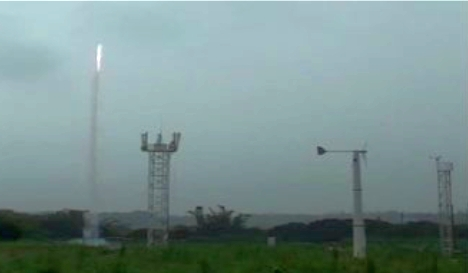 The lightening test being conducted