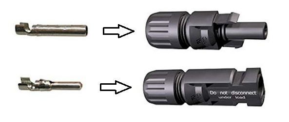 Solar MC4 connectors - Male and female with internal crimped terminals