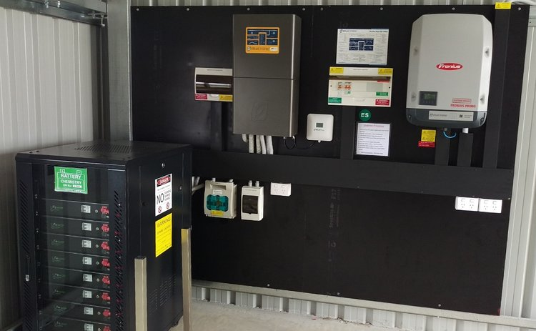 Off-grid solar power system with the Selectronic SP PRO, Powerplus Energy self-managed lithium battery system and AC coupled with a Fronius Primo solar inverter.  See the    best off-grid system review   .