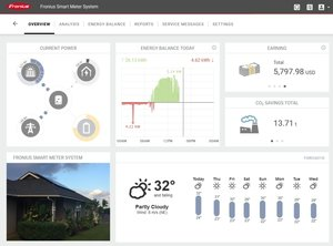 Fronius SolarWeb - online monitoring portal enables full site generation and consumption monitoring with the Fronius Smart Meter installed.