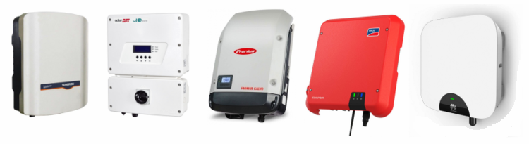 Some of the most popular solar inverters from Sungrow, SolarEdge, Fronius, SMA and Huawei.