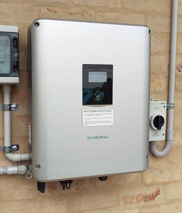 The Sungrow SH5K-20 Hybrid inverter installed without a battery connected.