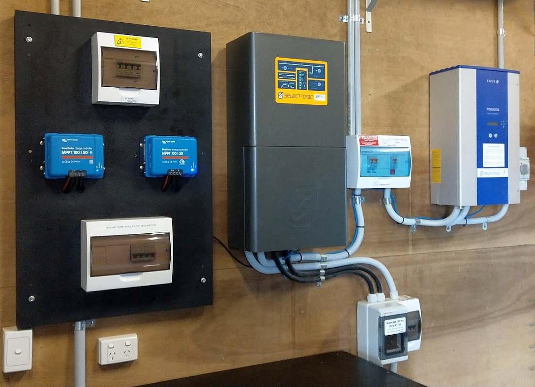 A combined AC and DC coupled off-grid solar system - Selectronic SP PRO AC coupled to a Kaco solar inverter. The lead-acid battery bank is also charged with two DC coupled Victron MPPT solar controllers.