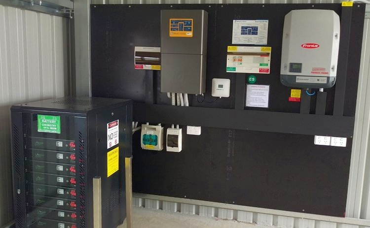 Large AC coupled off-grid solar system with a 9.2kW Solar array and 26kWh lithium LFP battery bank.