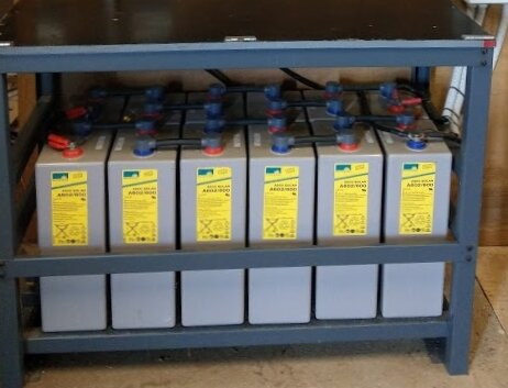 Even a relatively small 24V lead-acid battery bank can weight up to half a ton.