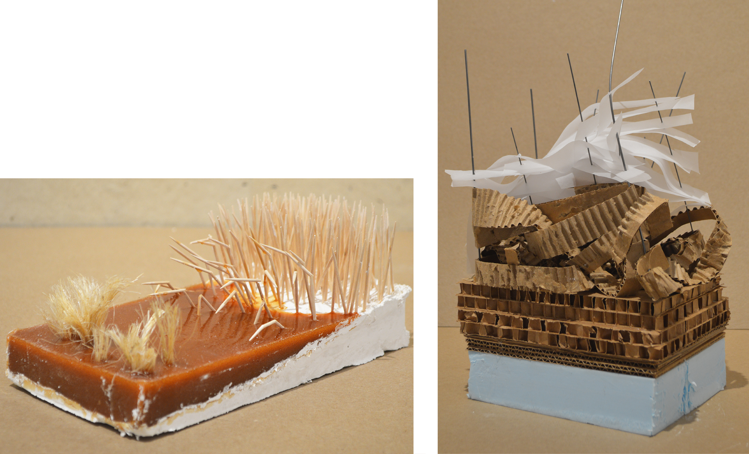 Above - Plaster, liquid casting rubber, hemp string, toothpicks. Right - Blue foam, recycled honey-comb cardboard, steel rod, vellum.