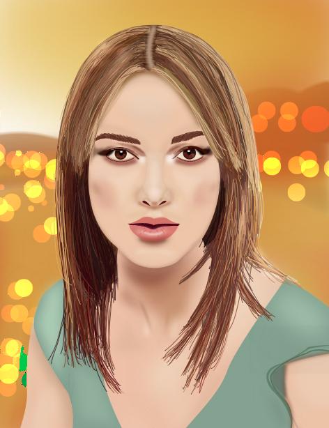 Keira Knightley portrait via Illustrator