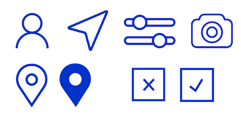 These are the icons I developed for motif's UI using Illustrator. They're all simple, geometric, and have a thin outline treatment.