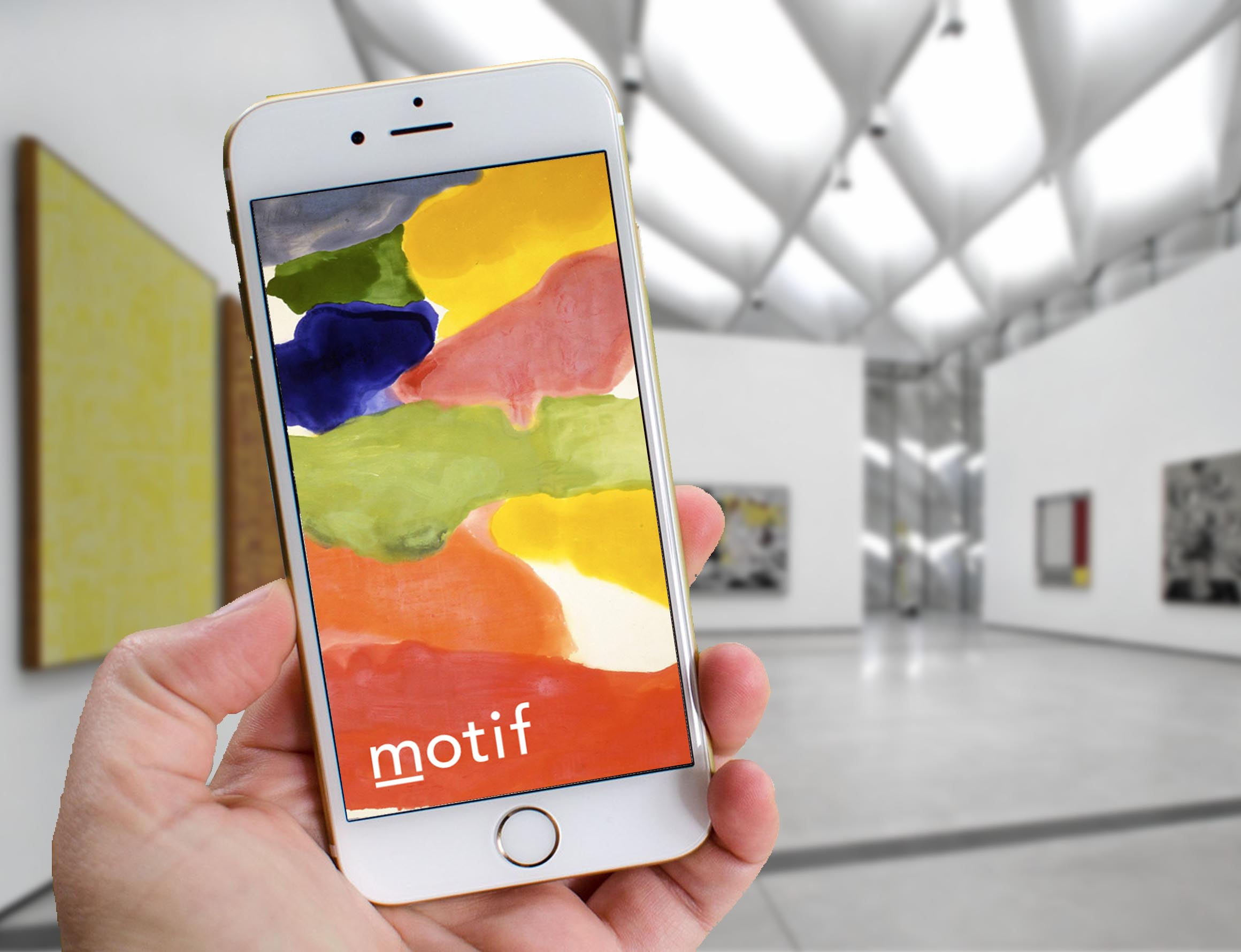 The splash page of  motif , a museum companion application I developed, in its natural habitat at the Broad Museum.